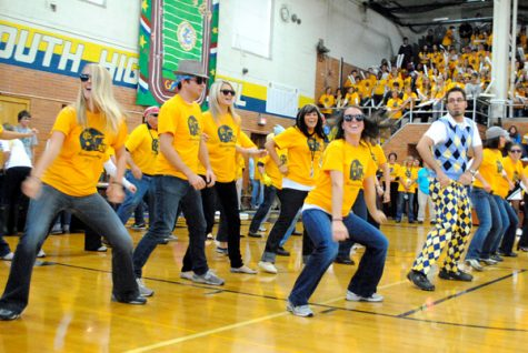 Teachers dance their way through pep assembly