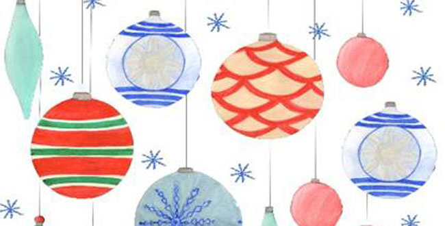 art students create christmas cards for the holidays