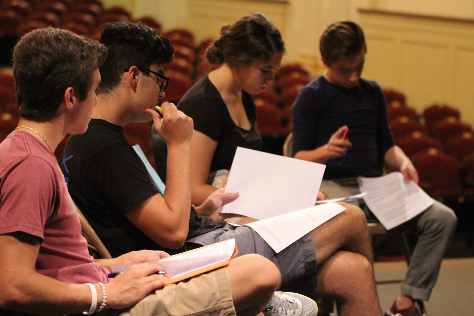 Photo taken by Mia Turco '18. Students hard at work at auditions for the play Lost in Yonkers.