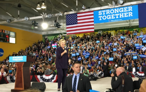 Hillary Clinton at one of her many rallies promoting her candidacy. Photo by Maren Roeske '18