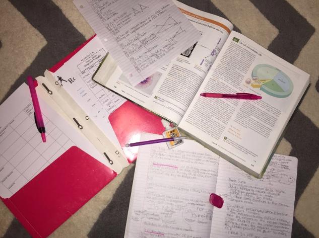 A clump of homework. Photo by Bianca Pugliesi '19