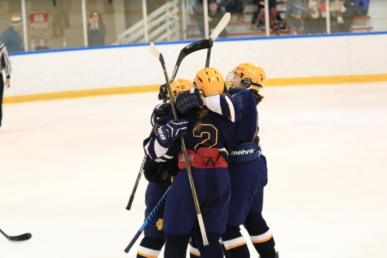 Some of the team celebrates after a good play. Photo by Emma Andreasen '17