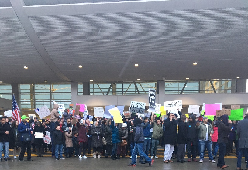 Protesters gather at DTW Airport in opposition to President Donald Trump's anti-immigration executive order.
