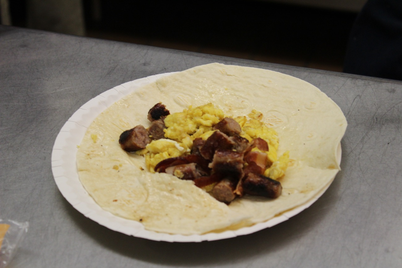A breakfast burrito made during Breakfast Club. The club meets Thursday mornings in room 145 at 7 a.m.