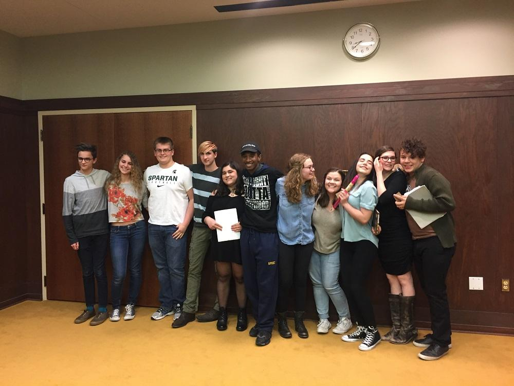 Group photo of winner of the second poetry slam of the year. The next poetry slam event is scheduled to take place in April.