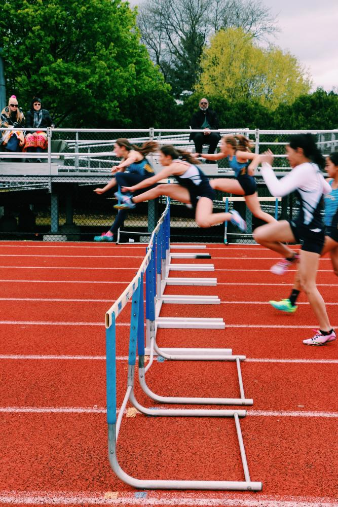 The senior girls participated in 13 out of the 15 track events during the Iron Women meet at South on Tuesday.  Credit: Lindsay Rogers
