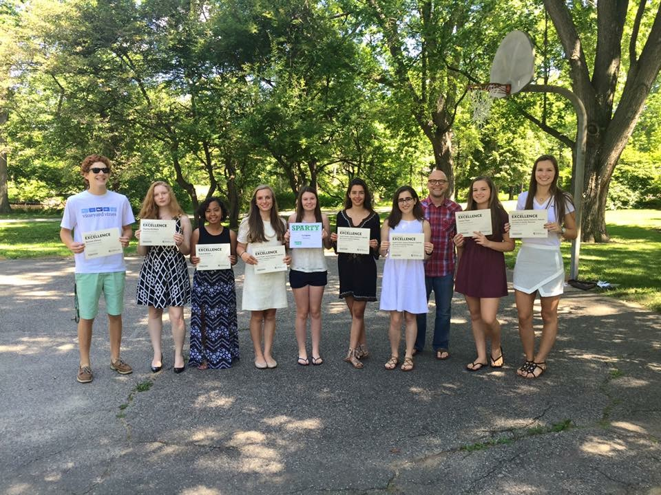 Tower+staffers+of+the+2015-2016+school+year+with+their+Sparty+Awards+from+the+Summer+MIPA+Camp+2015.+