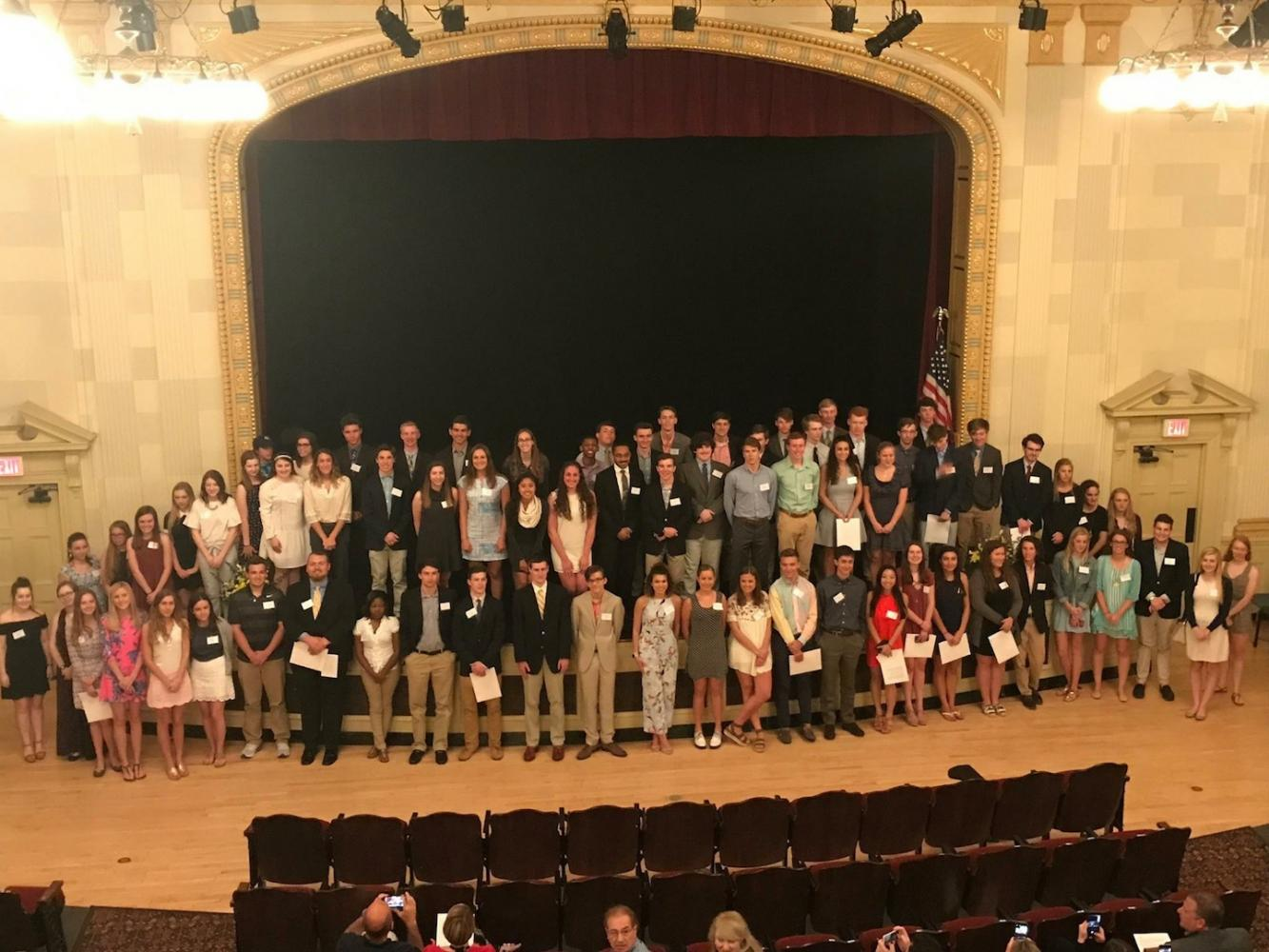 The 2017 recipients of the Mothers Club scholarships in the South auditorium. There were 88 students who received scholarships through this event for this school year.