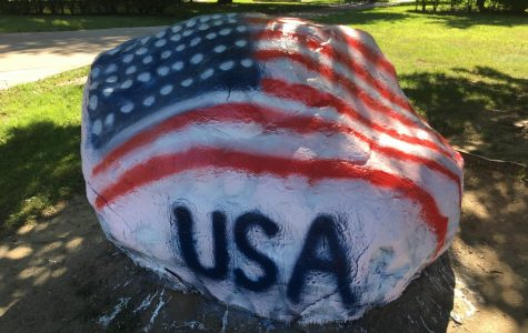 The rock was painted many times over the course of the summer with political messages, but in the midst of those ideas there were times when the rock displayed more unifying and patriotic themes.