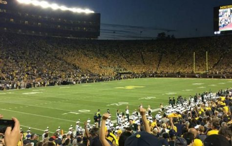 Michigan played Michigan State at the Big House on October 7. The Spartans triumphed 14-10.