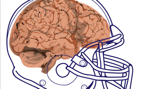 There are many risks in playing football while concussed. Graphic by Riley Lynch '18.