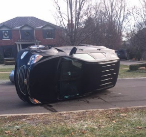 Blair Cullen '18's flipped over Chevy Equinox last February. Photo courtesy of Blair Cullen '18.