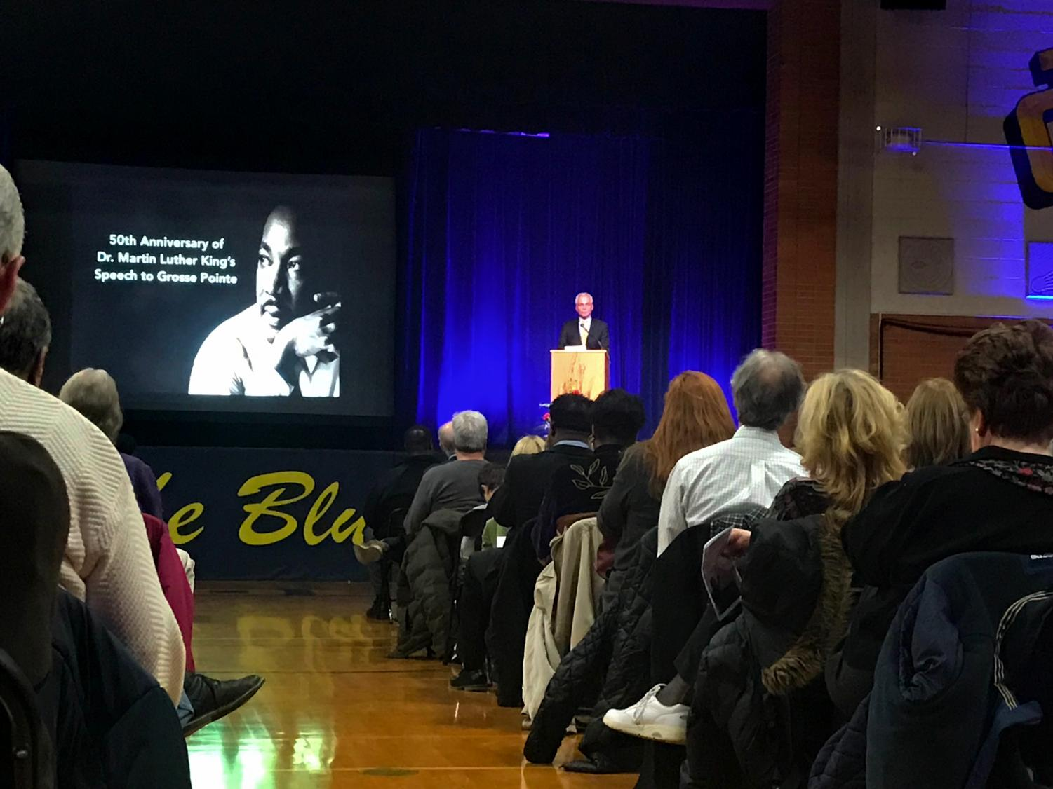 Robert Bury speaks at the MLK commemoration event that took place on March 14.