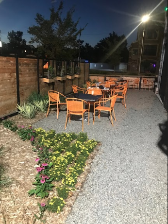 The back patio at Norma G's restaurant in Detroit. Photo by Jacob Harris '21.