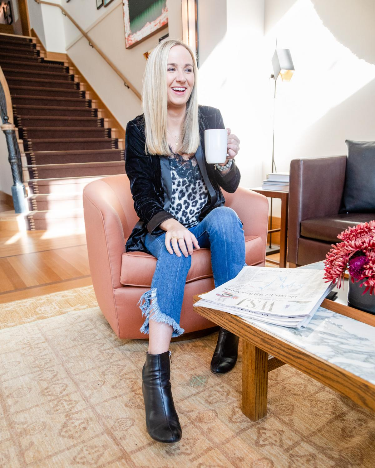 Lyndsey Walworth '11 sits in the Shinola Hotel in Detroit. Walworth works for Crain Communications and also has her own