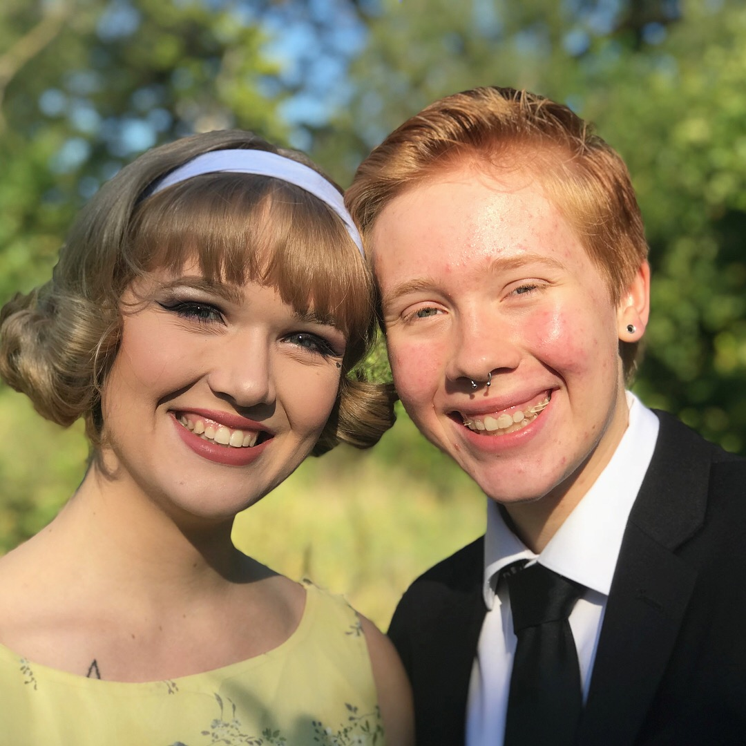 Troye Aho '20 and Jessica Dodge '19 pose together before homecoming. Photo courtesy of Aho.