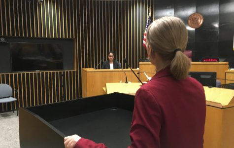 Jessica Dodge '19 practices in the courtroom for the upcoming state competition. Photo courtesy of Dodge.