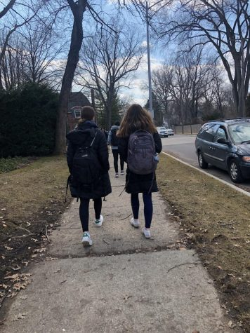 Spring fever: walking students look forward to warmer weather