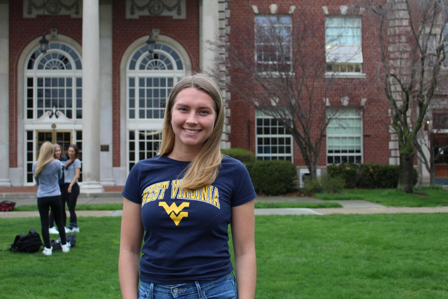 Gwyn Tiderington '19 smiles for decision day. Tiderington will not only study forensic science but will also play field hockey at West Virginia University. Photo by Frannie O'Shea '21.