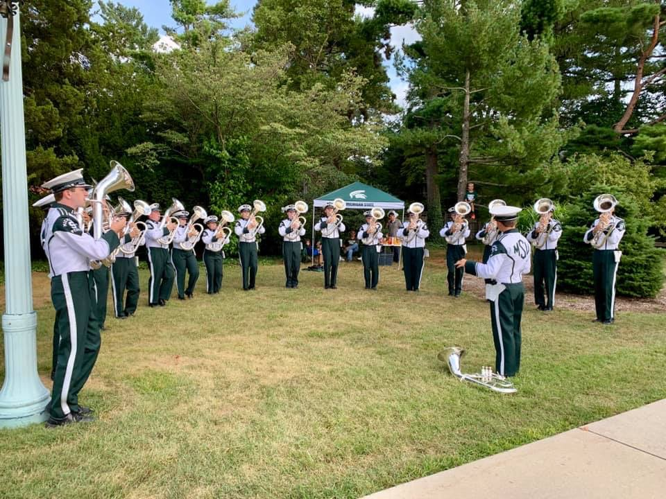 Julianna Brenner '19 plays with the other euphoniums as a part of the Michigan State marching band. She said if she ever wants to teach marching band, the best way is to experience the real thing in