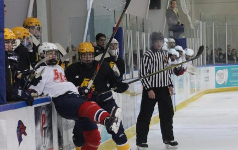 Things get tense in the 3rd period when Liggett starts to push a couple players, Ryan Bernard '22 pushes back giving a Liggett player a little nudge into the boards.