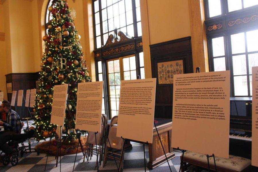 Posters created by SEEDS students shown displayed in Cleminson Hall during Culture Week. Photos by Zach Farrell '21.