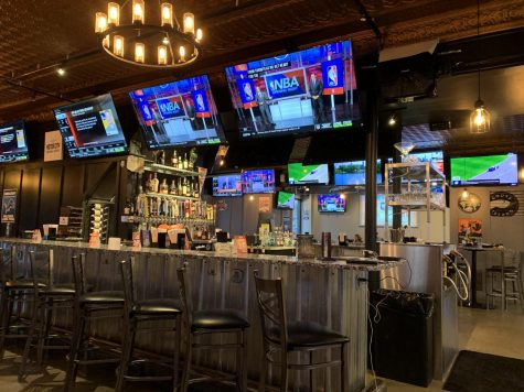 Inside the new Motor City Wings sports bar, which displays a modern aesthetic. Photo Courtesy of Mairin Heimbuch.