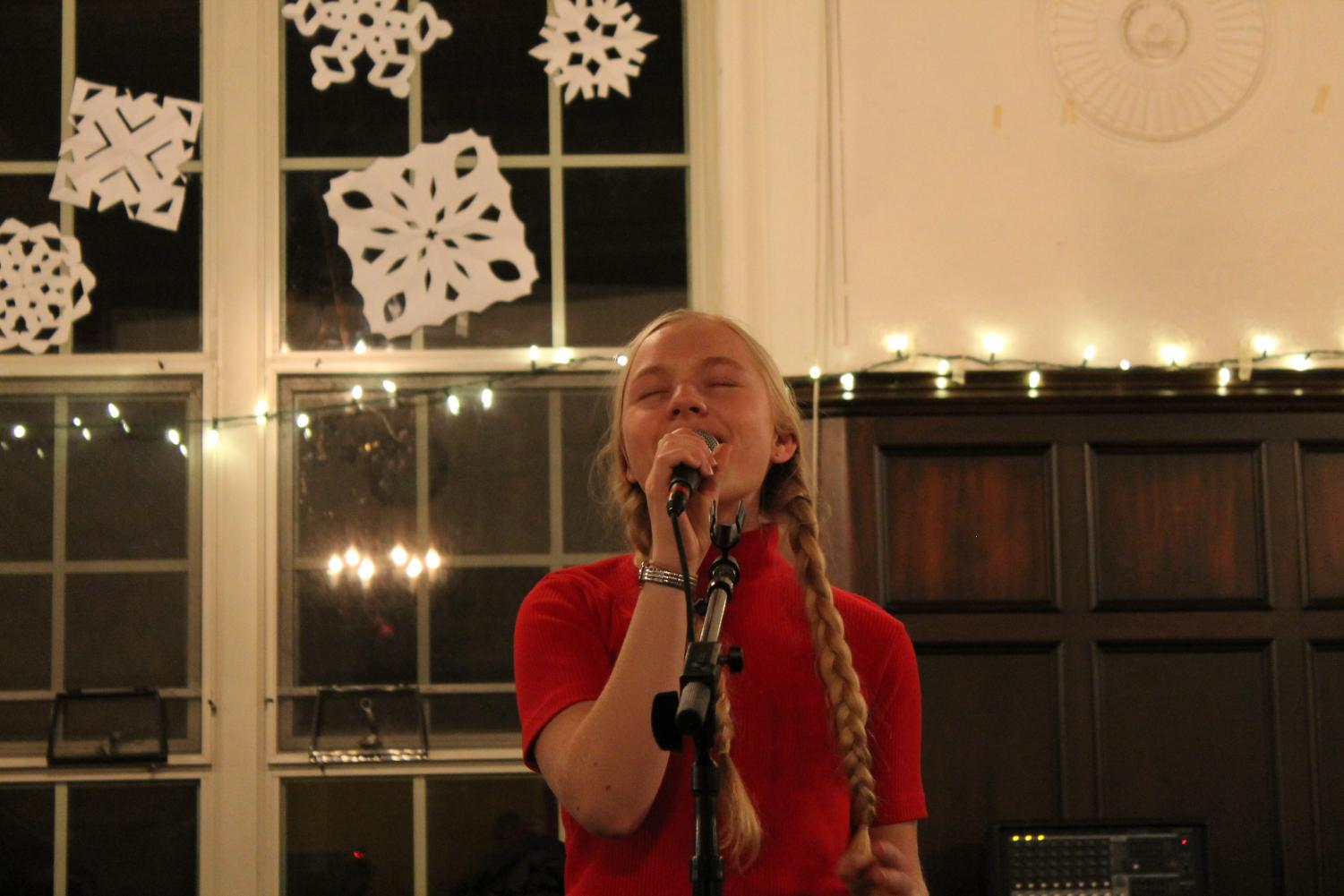 Melody Balos '19 sings her heart out at last year's Coffeehouse. Photo courtesy of Victoria Gardey '20