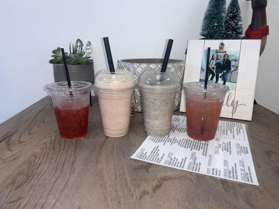 Shores+Nutrition%2C+pomegranate+green+tea%2C+strawberry+banana+peanut+butter%2C+oreo+pepermint+milkshake+and+Skittles+tea%2C+all+healthy+drinks.