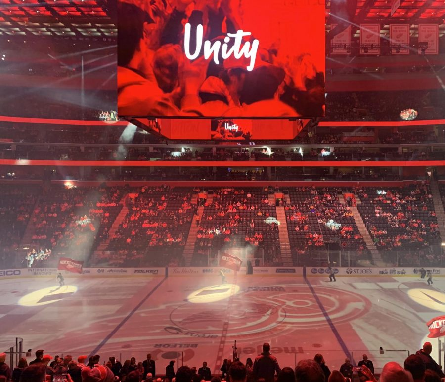 The+Red+Wings+hype+the+crowd+up+before+a+game+earlier+this+season+before+the+NHL+suspended+their+season.+Photo+by+Julia+Gebeck+%2722.