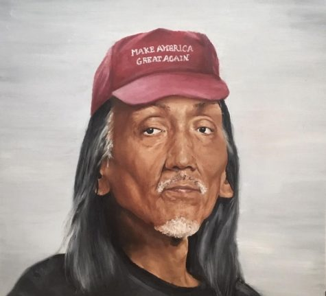 "THOUGHT PROVOKING Titled ""The Proverbial Moccasin,"" this painting depicts Nathan Philips wearing a MAGA hat and was recognized nationally. Phot o Courtesy of Kyra Futz"