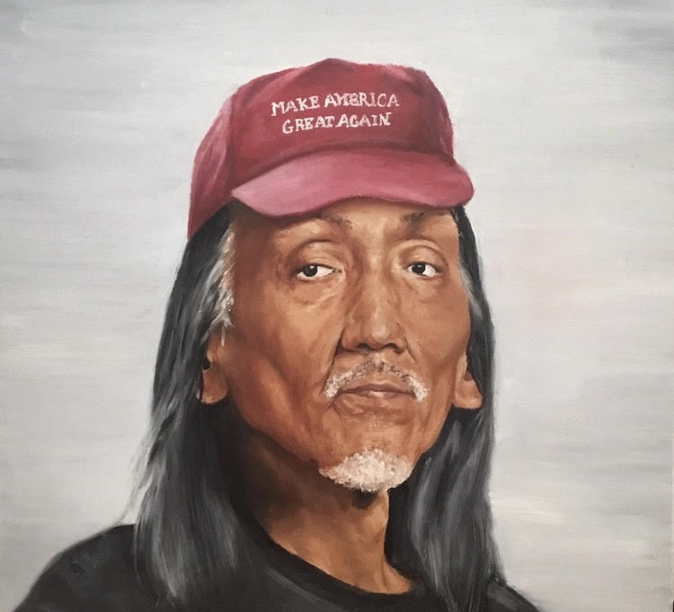 """THOUGHT PROVOKING Titled """"The Proverbial Moccasin,"""" this painting depicts Nathan Philips wearing a MAGA hat and was recognized nationally. Phot o Courtesy of Kyra Futz '20."""