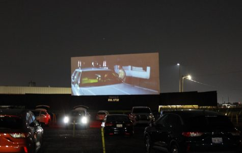 Families gathered under the stars to watch the film Halloween at the Ford Drive In.