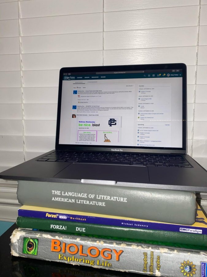 According to Henchel '23, remote learning means spending hours in front of a computer then more hours hitting the books. Photo courtesy of Chloe Polizzi '23.