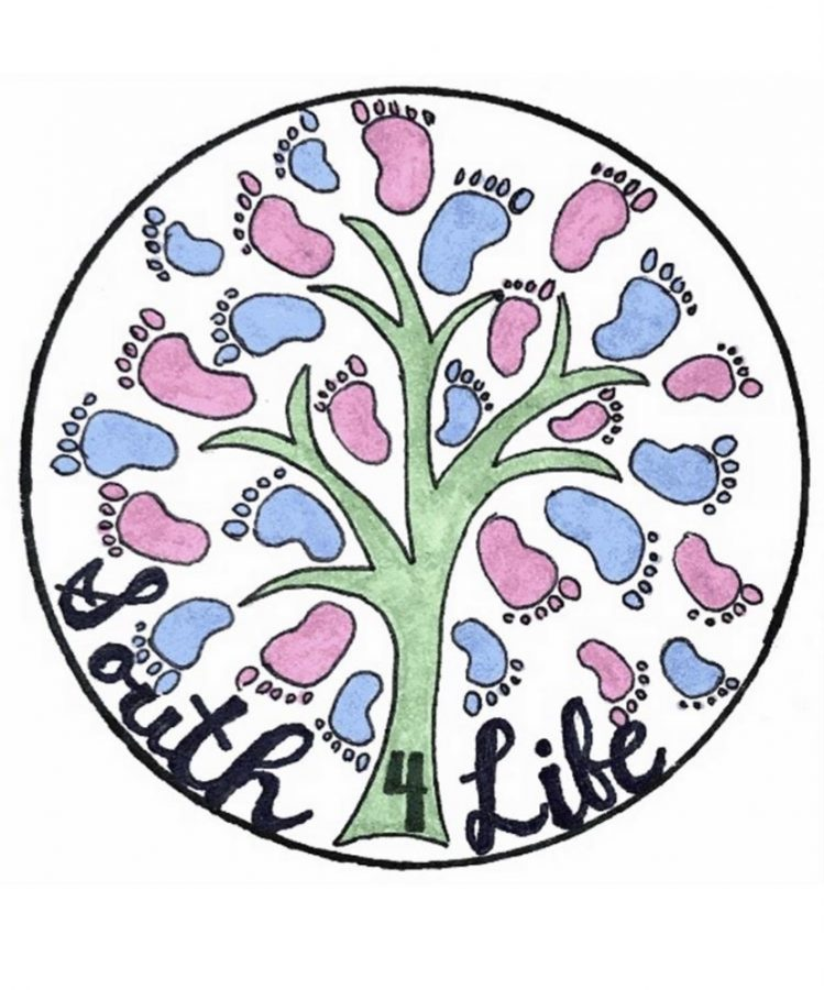 The proposed design for stickers for the South 4 life club in response to fundraising challenges. Graphic designed by Scarlett Draper '22.