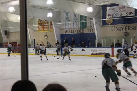 The girls hockey team from last year takes the ice in one of their early contests.