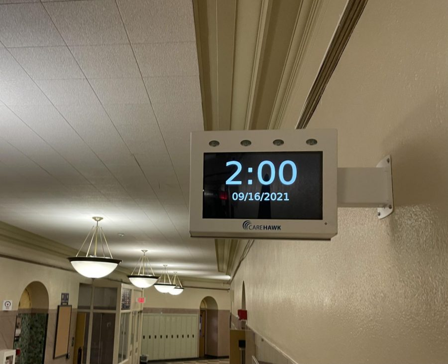 New digitized clocks in the hallway are just one example of Souths renovations.