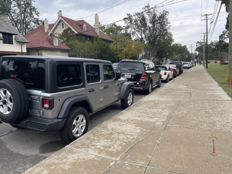 A view of one of the few places underclassmen can park without paying for a parking pass. Photo credit: