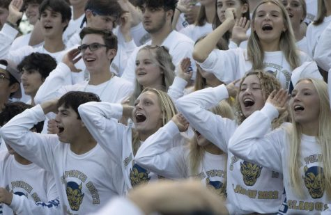 The class of 2022 shows the student section how to be energized in the homecoming game with lots of participation.